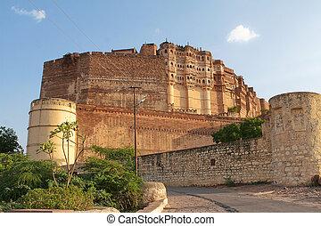 mehrangarh, jodhpur, rajasthan, indie, forteca
