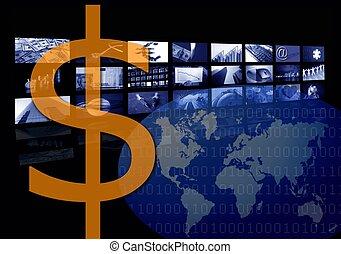 mehrfach, geschaeftswelt, bild, schirm, dollar, korporativ