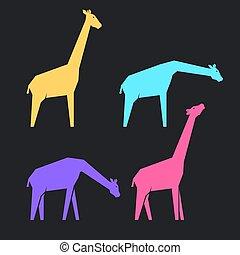 mehrfarbig, giraffen, satz