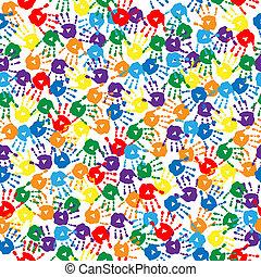 mehrfarbig, handprints, hintergrund, seamless