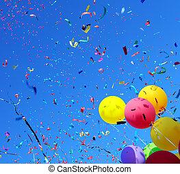 mehrfarbig, luftballone, und, konfetti, #2