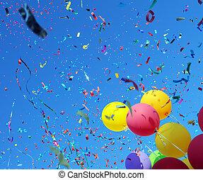 mehrfarbig, luftballone, und, konfetti, auf, blauer himmel