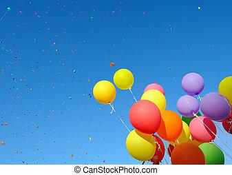 mehrfarbig, luftballone, und, konfetti