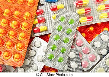 mehrfarbig, medizinprodukt, pillen, hintergrund