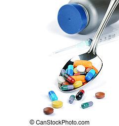 mehrfarbig, medizinprodukt, pillen, in, silberner löffel