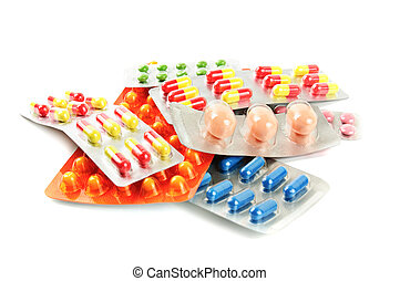 mehrfarbig, medizinprodukt, pillen