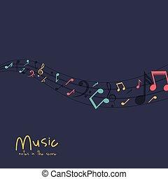 mehrfarbig, musik notiz, design