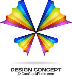 mehrfarbig, papillon, design, begriff