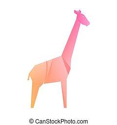 mehrfarbig, rosa, giraffe, steigung