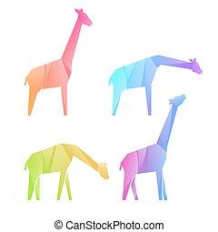 mehrfarbig, satz, giraffen, steigung