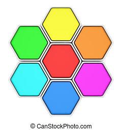 mehrfarbig, sechsecke