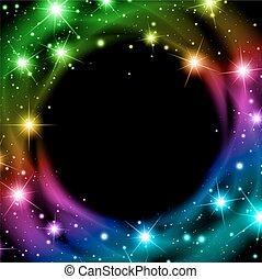mehrfarbig, stern, hintergrund, nacht
