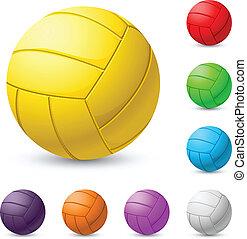 mehrfarbig, volleyball, realiste