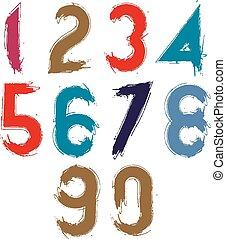 Mehrfarbig, Zahlen, handgeschrieben