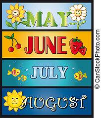 mei, juni, juli, augustus