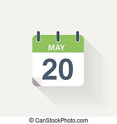 mei, kalender, 20, pictogram