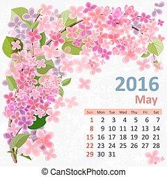 mei, kalender, 2016