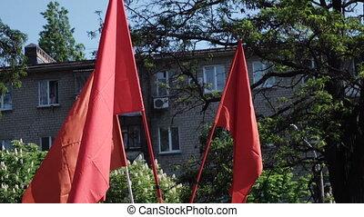 mei, negen, ussr, vlaggen, rood