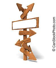 mei, -, op, witte , pijl, meldingsbord, houten post,...