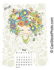 mei, seizoen, meiden, ontwerp, month., 2016, kalender