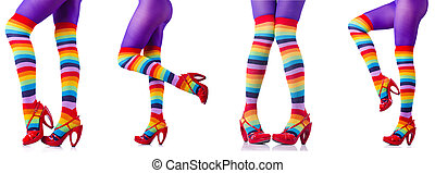 meias, branca, colorido, isolado