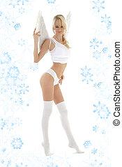 meias, branca, langerie, snowflakes, anjo
