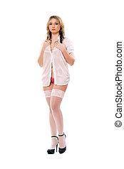 meias, branca, mulher, loura, tentando