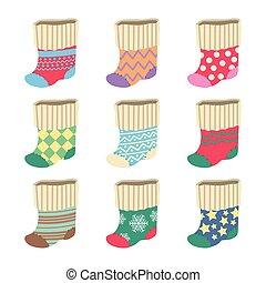 meias, cute, cobrança, coloridos, natal