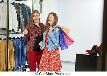 meiden, gaan, op, shoppen , om te, de, mall.