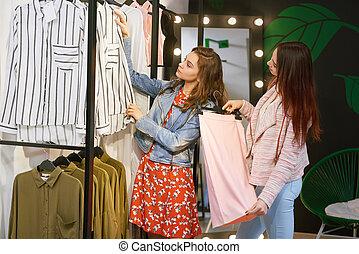 meiden, gaan, op, shoppen