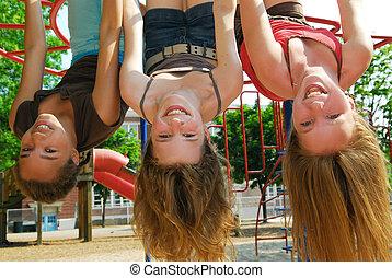 meiden, in, een, park