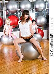 meiden, in, fitness midden