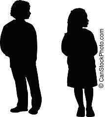 meiden, lichaam, twee, silhouette, vector