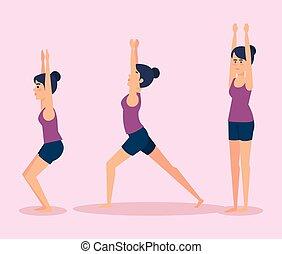 meiden, ontwerp, set, yoga