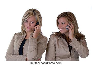 meiden, op de telefoon