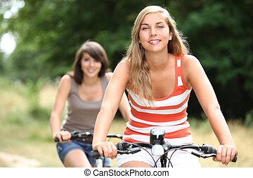 meiden, op, fietsen