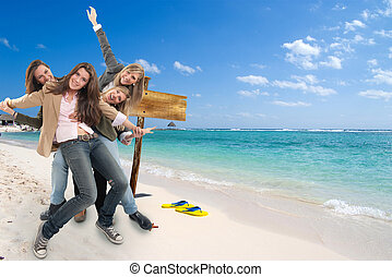 meiden, op het strand