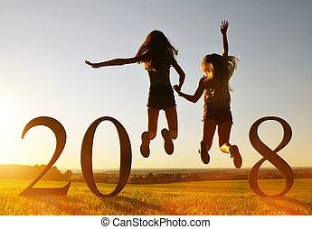 meiden, op, springt, jaar, 2018., nieuw, viering