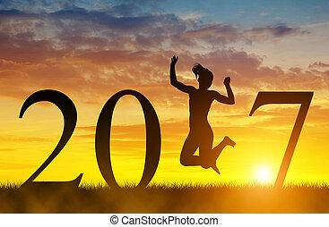 meiden, op, sprong, 2017., jaar, nieuw, viering