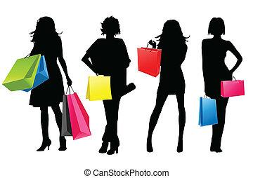 meiden, silhouette, shoppen