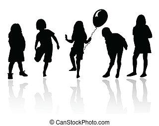 meiden, spelend, silhouette