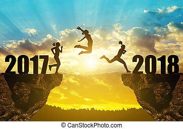meiden, sprong, om te, de, jaarwisseling, 2018