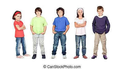 meiden, twee, drie, jongens, kinderen, schattige