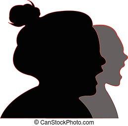 meiden, vector, silhouette, gegil