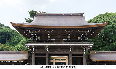 meiji shrine summer scenery with main gate in tokyo, japan