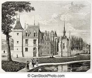 Meillant castle - Old illustration of Meillant castle, Cher...