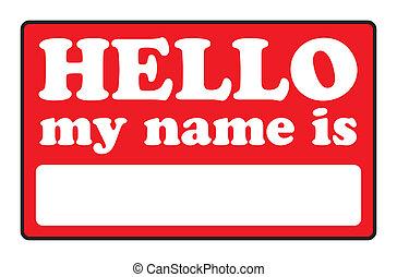 mein, hallo, name, etikette