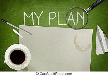 mein, plan, begriff, auf, grün, tafel, mit, leerer , papier, blatt