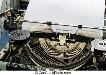 meine, biographie:vintage, inscriptie, gemaakt, door, oud, typemachine