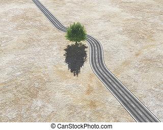 meio, árvore, estrada